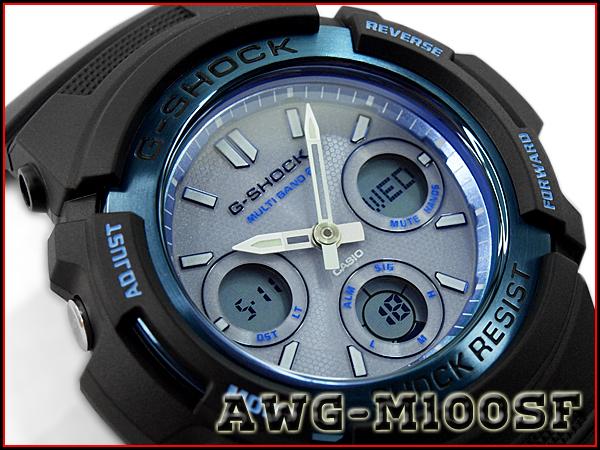 "G-休克 G 休克""凱西歐凱西歐火包火包 2016年有限的模型波太陽射電看黑色的天空藍色 AWG-M100SF-2ACR AWG-M100SF-2A 類比數位手錶"