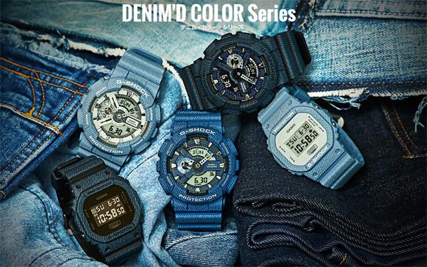 G-休克 G 衝擊牛仔布牛仔將彩色限量版模型凱西歐凱西歐數位手錶黑藍色海軍 DW-5600DC-1JF