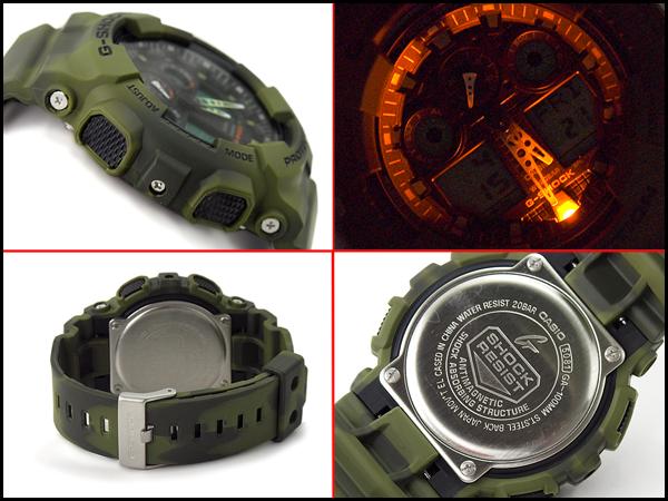 """G 衝擊 g 休克""""凱西歐凱西歐有限模型系列迷彩偽裝系列類比數位手錶大理石花紋卡其色綠色 GA-100 毫米-3ACR 的 GA-100 毫米-3A"""