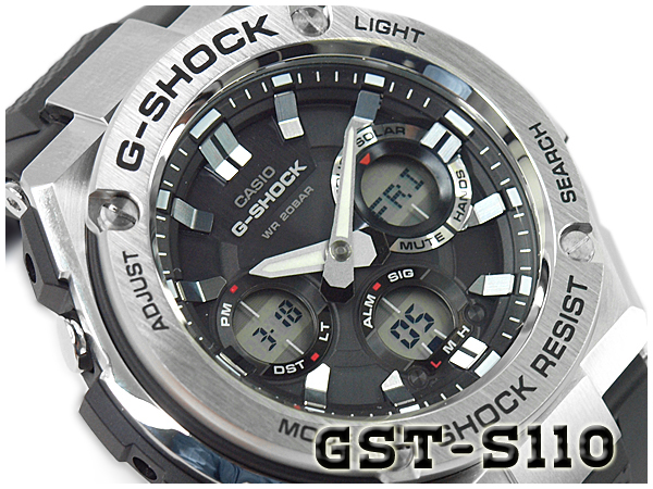 凱西歐 G 衝擊 G 鋼 G 鋼凱西歐 g-休克太陽能類比數位男式手錶黑色銀色 GST S110 1ADR GST S110 1 A