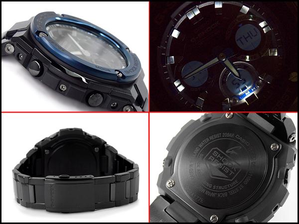 凱西歐 G 衝擊 G 鋼 G 鋼凱西歐 g-休克太陽能類比數位男士手錶黑色藍色 GST-S 110BD-A2DR 1 GST-S 110BD-1 2