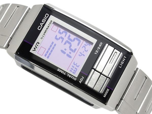 Casio overseas model Futurist ladies digital watch gray × black combination color light purple mirror dial-LA-201WD-6A