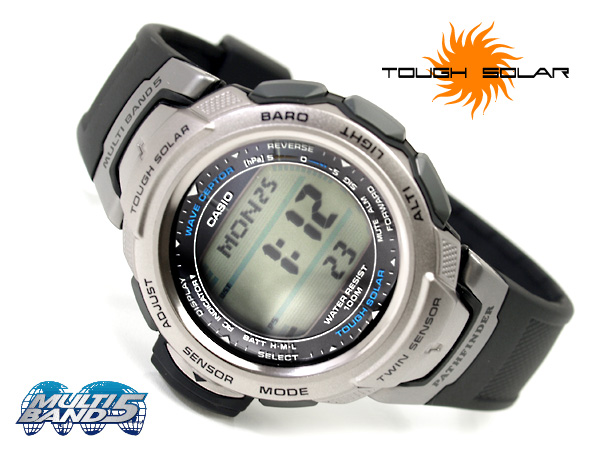Solar electric wave digital watch black X silver urethane belt PAW-500-1VCR mounted with Casio foreign countries model Pathfinder twin sensor