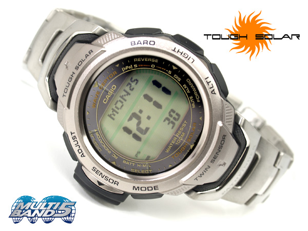 Solar electric wave digital watch silver X black titanium belt PAW-500T-7VCR fs3gm mounted with Casio foreign countries model Pathfinder twin sensor