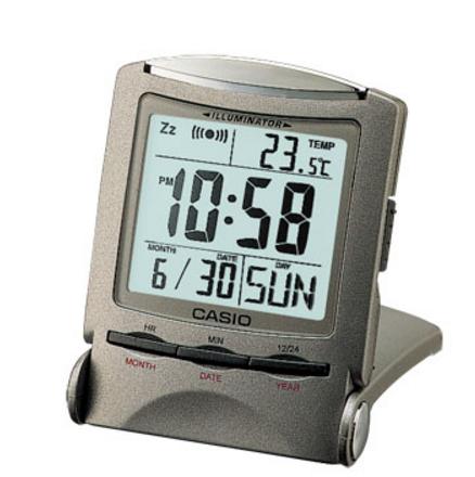 帶溫度計折疊緊湊旅行時鐘凱西歐凱西歐時鐘時鐘時鐘鬧鐘鐘銀 PQ-50J-8