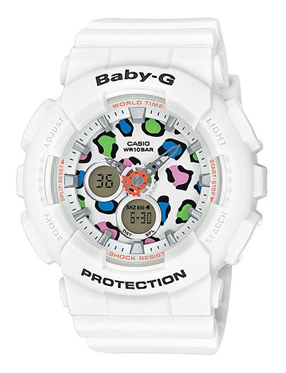 凱西歐寶貝 g 凱西歐寶貝 G 系列豹女士類比數位手錶白色多色壩-120LP-7AJF