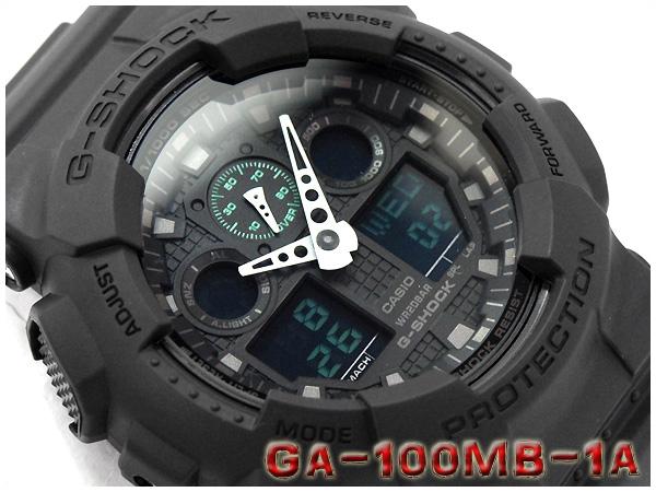 c76831040 G-SUPPLY: CASIO g-shock Casio G shock Military black series military  black-series an analog-digital watch black green GA-100MB-1ADR GA-100MB-1A  | Rakuten ...
