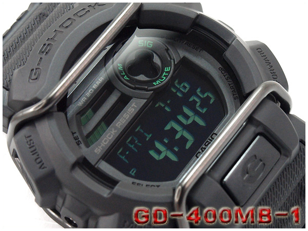 fc1f3df30 CASIO g-shock Casio G shock Military black series military black-series  digital watch black green GD-400MB-1CR GD-400MB-1