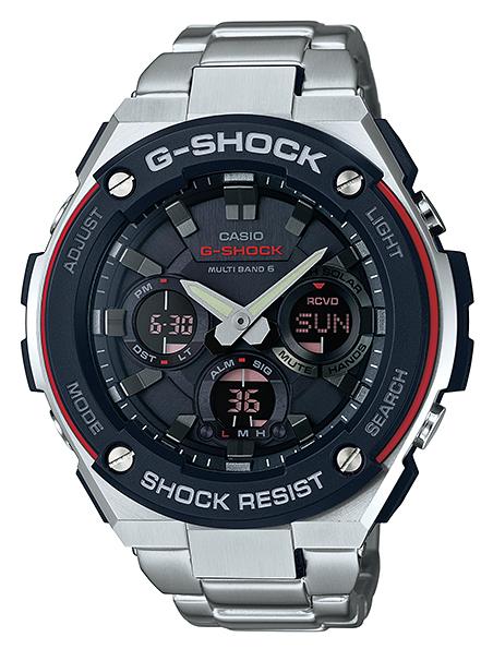 587e2ddf95e57  5-year warranty  CASIO G shock G steel CASIO g-shock G-STEEL wave solar  radio watch an analog-digital men s watch black red silver GST-W 100D-1 A4JF