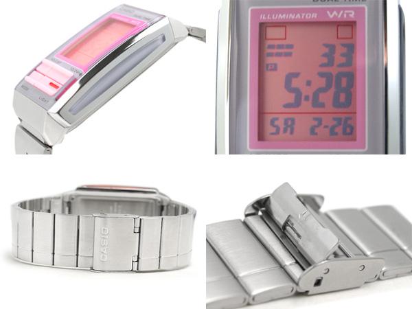 Casio overseas model Futurist ladies digital watch gray × ピンクコンビ color pink dial-la-201W-4 2