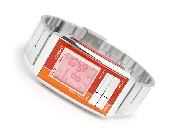 + Casio overseas model Futurist ladies digital watch Orange x red Combi color pink dial-LA-201W-4A