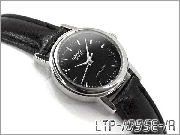 凱西歐 LTP-1095E-1ADF 凱西歐手錶黑色撥黑色真皮皮帶