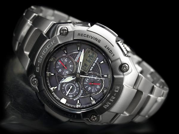 MR-G國内型號太陽能電波計時儀手表ブラックベゼルブルーブラックダイアルチタンベルトサファイアカバーガラスMRG-7000DJ-1A