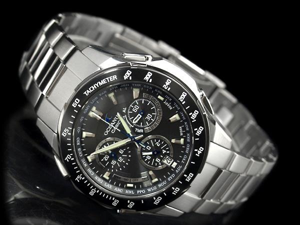 歐申納斯太陽射電計時手錶黑色錶盤泰坦帶薩菲爾封面晚會國內模型 OCW-M800TBJ-1AJF