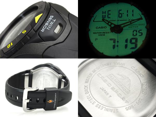 + 凱西歐海開創者凱西歐 シーパスファインダー 深度計、 壓力錶、 水溫度壓力錶 アナデジダイバーズウォッチ SPF-60 年代-1VER