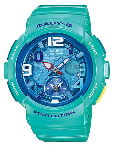 寶貝寶貝-g G 照看海灘旅行系列海灘旅行系列凱西歐凱西歐類比數位手錶綠色 BGA-190-3BJF