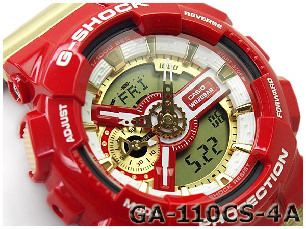 """G 休克""""g 衝擊凱西歐凱西歐有限模型瘋狂的顏色瘋狂的顏色反海外模式,類比數位手錶紅金嘎-110CS-4ADR GA-110CS-4A"""