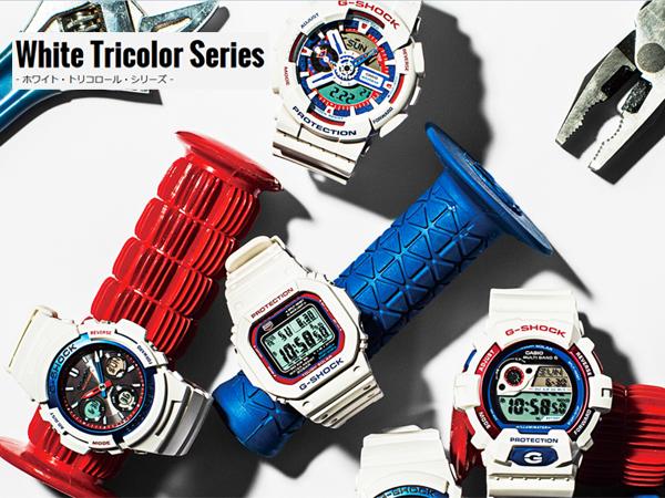 """凱西歐 G 休克""""白色和三色系列凱西歐 g 衝擊白三色系列波太陽射電手錶數位看白色 GW-M5610TR-7JF"""