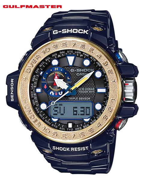 凱西歐 G 休克 6600 海灣主控凱西歐 g 休克 GULFMASTER 波太陽射電觀看類比數位手錶男裝海軍金 GWN-1000F-2AJF