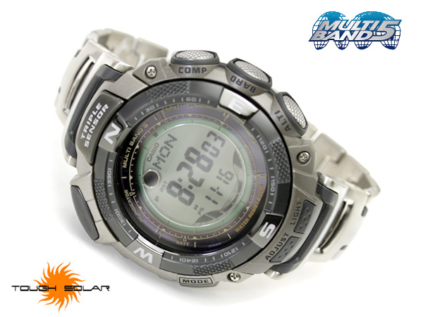 Casio foreign countries monopoly model Pathfinder digital watch multi-field line silver X black titanium belt PAW-1500T-7VCR