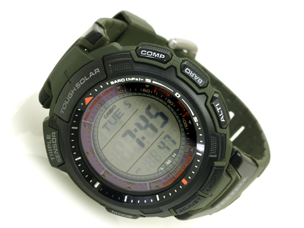And protrek tough solar triple sensor with digital watch dark green polyurethane belts overseas model PRG-110-3