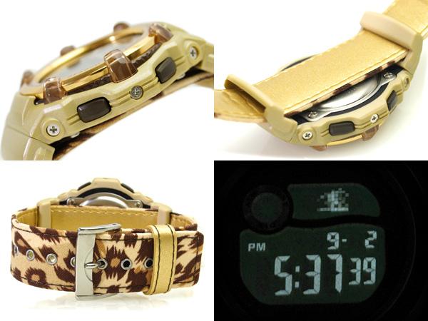Casio baby G overseas model digital watch Reef Gold Dial-Leopard pattern crossed leather belt BG-3000V-5