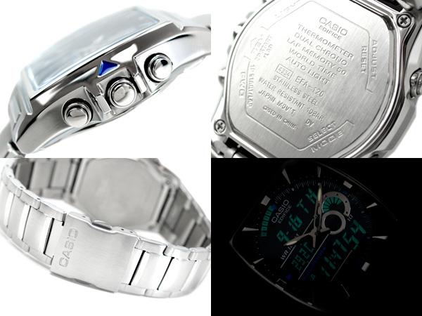 卡西歐海外moderuedifisuanadeji手錶黑色撥盤不銹鋼皮帶EFA-120D-1AVDR