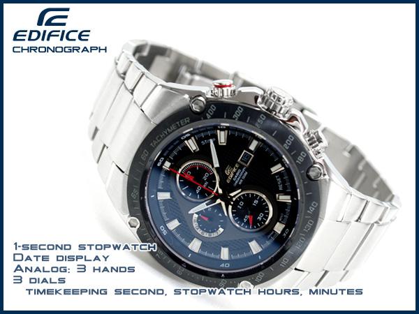 卡西歐海外moderuedifisukuronogurafu手錶IP burakkubezeruburakku×銀子撥盤不銹鋼皮帶EFE-501D-1A1