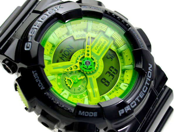 + 凱西歐 G 衝擊進口海外型號 ハイパーカラーズ 類比數位手錶螢光諧波生動綠釉黑聚氨酯皮帶 GA-110B-1 3