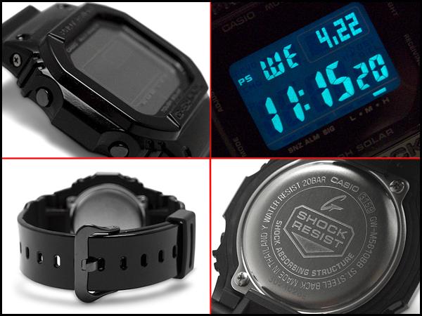 "G 休克""g 衝擊凱西歐凱西歐雜草叢生黑色有光澤黑色系列反向海外模型波太陽射電手錶電子錶黑色 GW M5610BB 1ER GW M 5610BB 1"