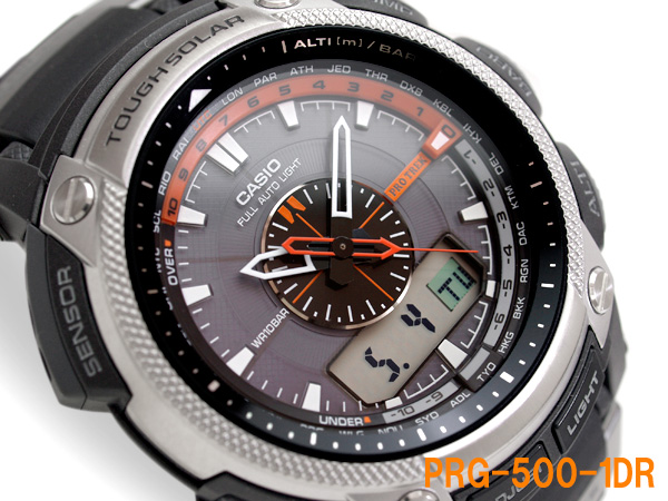 Casio overseas モデルプロトレック triple sensor equipped with an analog-digital Watch Black / Silver urethane belt PRG-500-1