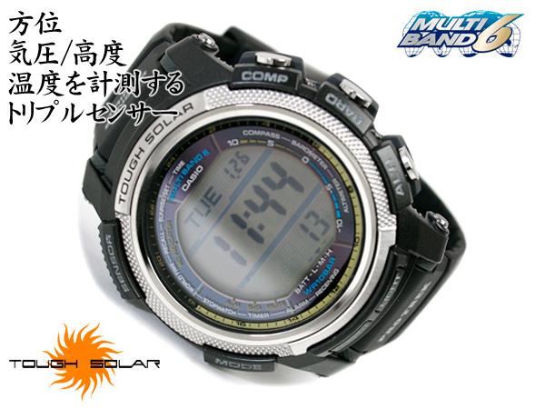 + Casio overseas model protrek triple sensor with digital watch black urethane belt PRW-2000-1