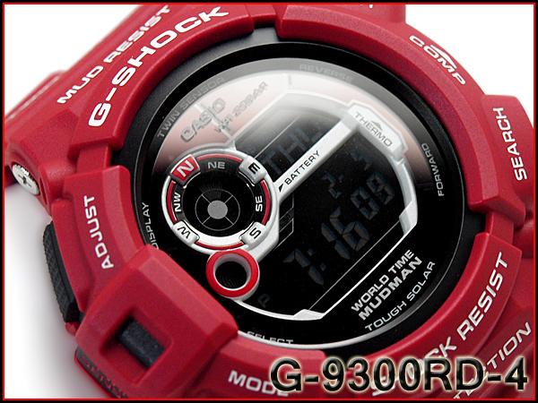CASIO G-SHOCK 카시오 G 쇼크 지 쇼크 MUDMAN 매드 맨 남자 인 구조 레드 솔 라 디지털 시계 레드 G-9300RD-4DR G-9300RD-4