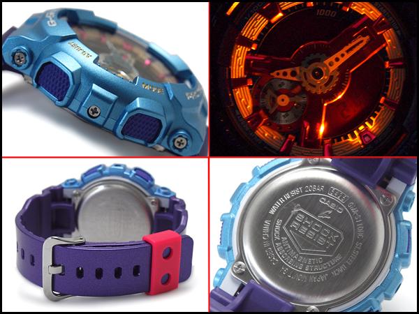 """凱西歐 g 震撼凱西歐 G 衝擊""""限量版模型 S 系列 S 系列進口海外模型類比數位手錶藍色紫色 GMA S110HC 6AER 甲基丙烯酸縮水甘油酯-S110HC-6A"""