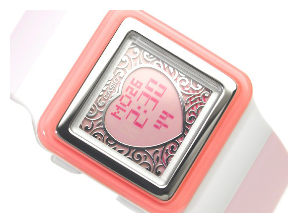 Casio Japan not available for overseas models ポップトーン ladies digital watch white case * ベージュピンクベゼル pink Crystal pink polyurethane belt LDF-21-4 A