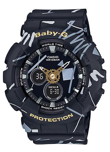 凱西歐寶貝 g 凱西歐寶貝 G 類比數位女式手錶幾何設計幾何圖案黑八-120SC-1AJF 定期國內