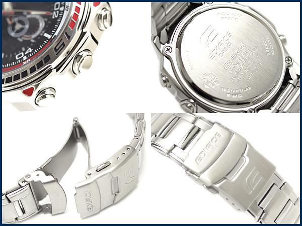 + 凱西歐 メンズアナデジ 手錶大廈黑色和紅色撥號不銹鋼帶