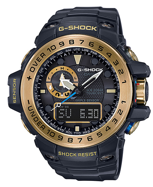 凱西歐 G 衝擊海灣主控凱西歐 g 衝擊限量版 GULFMASTER 電臺太陽射電觀看男子的類比-數位手錶黑色黃金 GWN-1000 GB-1AJF