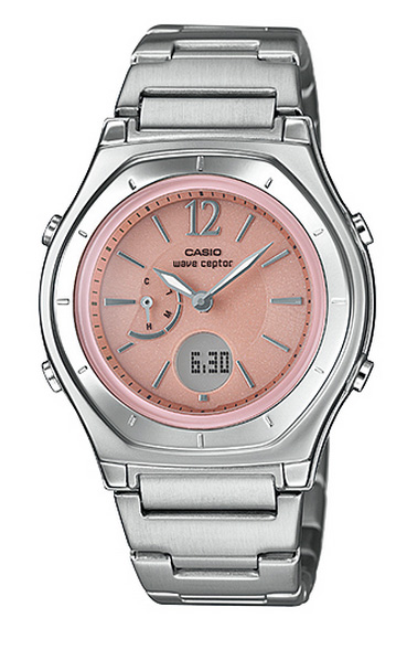 Casio CASIO WAVE CEPTOR Waveceptor analog women s solar radio watch Silver  Pink LWA-M 160D-4 A1JF regular domestic e7bbb47ba