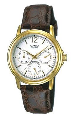 카시오 CASIO STANDARD 스탠다드 아날로그 손목시계 화이트 브라운 송아지 가죽 벨트 MTP-1174 Q-7 AJF 국내 정규품