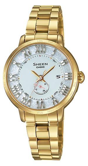 凱西歐凱西歐光澤現場浮動和索引太陽能波女式手錶黃色金 IP 粉紅色藍寶石 500 限量版 SHW-1600GD-7AJR 定期國內