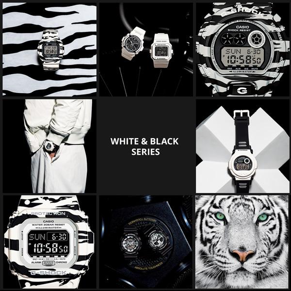凱西歐 G 衝擊凱西歐 g 衝擊限量版 6900 白色與黑色老虎迷彩數位看白色藍色 GD-X6900BW-1JF