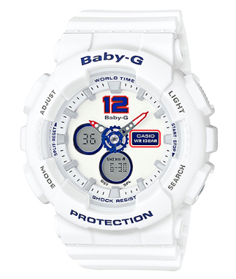 7e3c574c656f G-shock baby G Casio CASIO baby-g white and tricolor series ladies an analog -digital watch white red blue BA-120TR-7BJF BA-120TR-7B