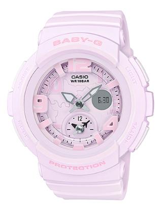 凱西歐凱西歐寶貝 g 凱西歐寶貝 G 系列海灘旅行者旅行者系列雙撥號世界時間的特點是一個語氣柔和的粉紅色 BGA-190BC-4BJF BGA-190BC-4B 類比數位女士手錶