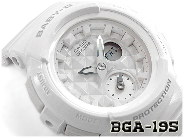 51a30bb456f Baby G Baby-G ベビージー reimportation foreign countries model STUDS DIAL SERIES  studs dial series Casio CASIO アナデジ watch white BGA-195-7ACR BGA-195-7A