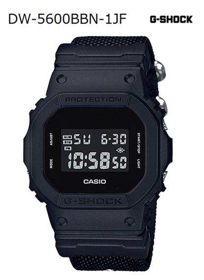 G-SHOCK G打擊G打擊Military Black限定型號卡西歐CASIO數碼手錶全部黑色交叉帶DW-5600BBN-1JF