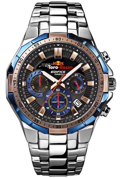 卡西歐CASIO EDIFICE edifisu Scuderia Toro Rosso Limited Edition sukuderia·紅牛二隊·限量發行版人手錶藍色×銀子EFR-554TRJ-2AJR EFR-554TRJ-2AJR