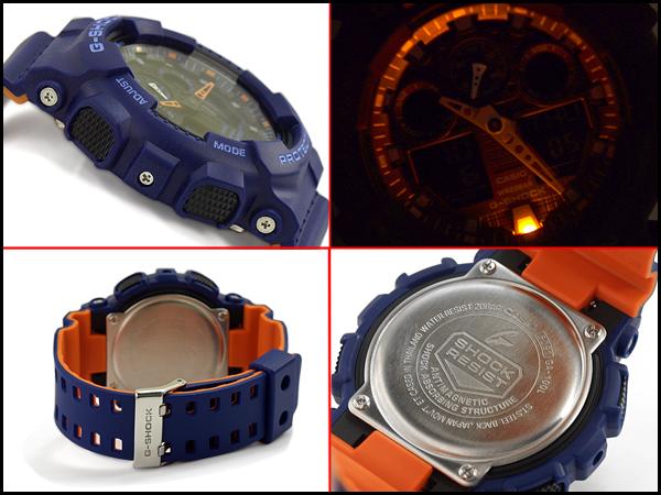 G-SHOCK G 충격 지 쇼크 역 수입 해외 모델 CASIO 카시오 아날로그-디지털 시계 블루 오렌지 GA-100L-2ACR GA-100L-2A