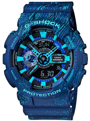 "G-休克 G 休克""凱西歐凱西歐對限量版模型類比數位手錶霧中的紋理藍色遺傳演算法-110TX-2AJF"