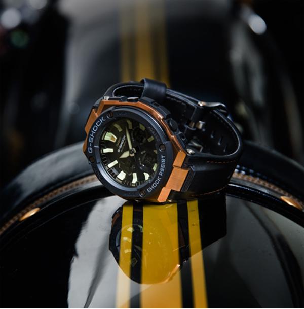 G-SHOCK G打擊G打擊G-STEEL G鋼鐵卡西歐CASIO電波soraanadejimenzu手錶玫瑰黄金×黑色強壯的皮革GST-W120L-1AJF